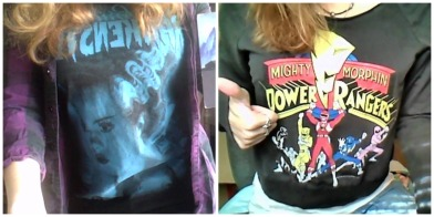 nerdy shirts, thrift stores, power rangers, bride of frankenstein