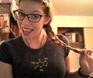 thinkgeek, nerdy shirt, caffeine molecule